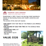 """French Lick Stay and Play Package<span class=""""DONATED_BY"""">Donated By: French Lick Resort</span>"""